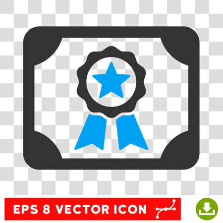 attest: Vector Certificate EPS vector pictograph. Illustration style is flat iconic bicolor blue and gray symbol on a transparent background.