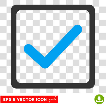 marked boxes: Vector Checkbox EPS vector pictogram. Illustration style is flat iconic bicolor blue and gray symbol on a transparent background.
