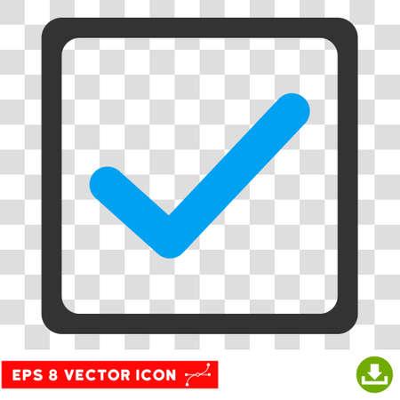 Vector Checkbox Pictogramme vectoriel EPS. Le style d'illustration est un symbole iconique bicolore bleu et gris sur un fond transparent.