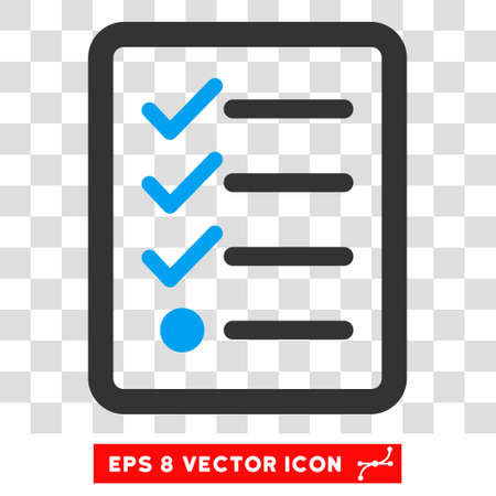 numerate: Vector Checklist EPS vector icon. Illustration style is flat iconic bicolor blue and gray symbol on a transparent background.