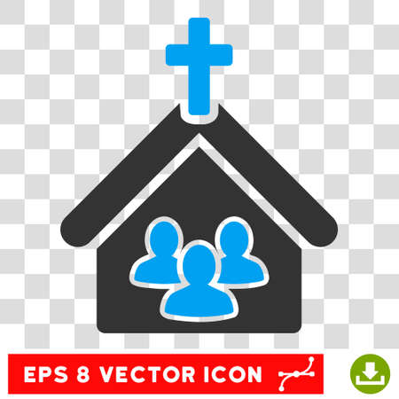 Vector Church EPS vector icon. Illustration style is flat iconic bicolor blue and gray symbol on a transparent background. Illustration