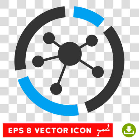 Vector Connections Diagram EPS vector icon. Illustration style is flat iconic bicolor blue and gray symbol on a transparent background. Illustration