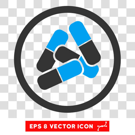 Vector Drugs EPS vector pictograph. Illustration style is flat iconic bicolor blue and gray symbol on a transparent background.