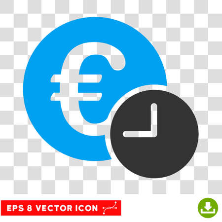 procent: Vector Euro Credit EPS vector pictogram. Illustration style is flat iconic bicolor blue and gray symbol on a transparent background.