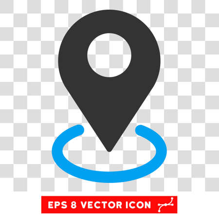 targeting: Vector Geo Targeting EPS vector pictograph. Illustration style is flat iconic bicolor blue and gray symbol on a transparent background. Illustration