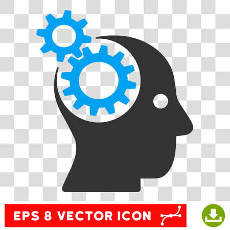 robo: Vector Intellect Gears EPS vector pictograph. Illustration style is flat iconic bicolor blue and gray symbol on a transparent background.