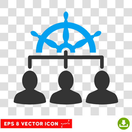 administer: Vector Management EPS vector pictogram. Illustration style is flat iconic bicolor blue and gray symbol on a transparent background.