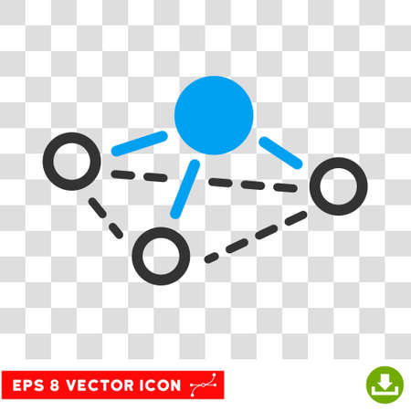 Vector Molecule EPS vector pictogram. Illustration style is flat iconic bicolor blue and gray symbol on a transparent background.