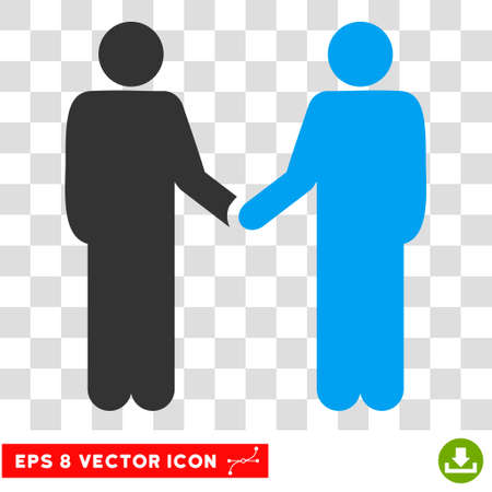 handclasp: Vector Persons Handshake EPS vector pictogram. Illustration style is flat iconic bicolor blue and gray symbol on a transparent background.