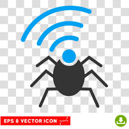 fbi: Vector Radio Spy Bug EPS vector pictogram. Illustration style is flat iconic bicolor blue and gray symbol on a transparent background.