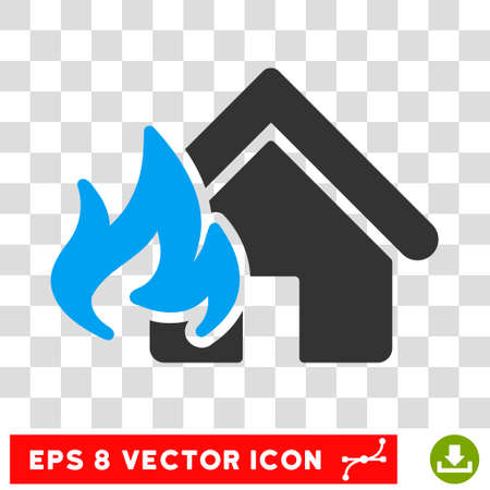 fire damage: Vector Realty Fire Damage EPS vector pictograph. Illustration style is flat iconic bicolor blue and gray symbol on a transparent background. Illustration