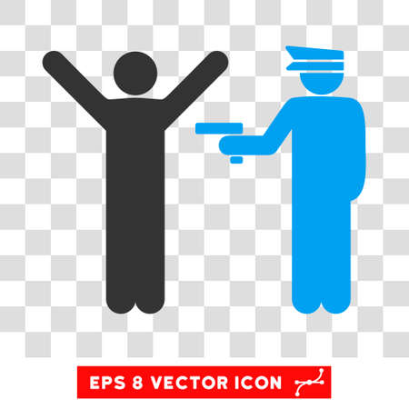 arrest: Vector Police Arrest EPS vector pictogram. Illustration style is flat iconic bicolor blue and gray symbol on a transparent background.