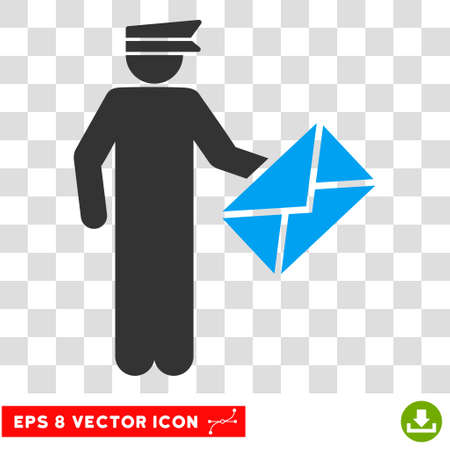 Vector Postman EPS vector pictogram. Illustration style is flat iconic bicolor blue and gray symbol on a transparent background. Illustration