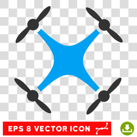 Vector Quadcopter EPS vector pictograph. Illustration style is flat iconic bicolor blue and gray symbol on a transparent background.