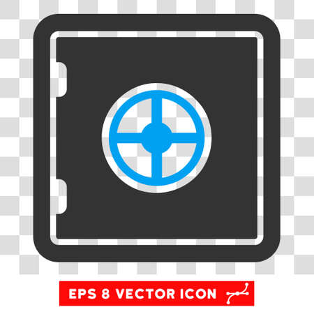 secured property: Vector Safe EPS vector pictogram. Illustration style is flat iconic bicolor blue and gray symbol on a transparent background. Illustration