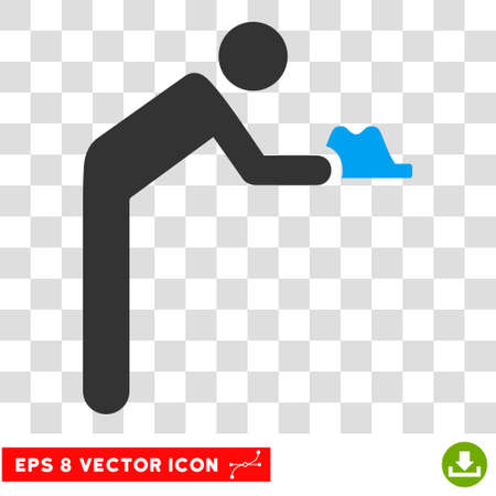 pauperism: Vector Servant EPS vector pictogram. Illustration style is flat iconic bicolor blue and gray symbol on a transparent background. Illustration
