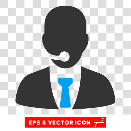 telemarketing: Vector Telemarketing Operator EPS vector icon. Illustration style is flat iconic bicolor blue and gray symbol on a transparent background.