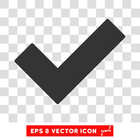 validation: Vector Validation Tick EPS vector pictogram. Illustration style is flat iconic gray symbol on a transparent background.