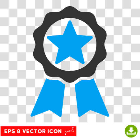 Vector Award EPS vector icon. Illustration style is flat iconic bicolor blue and gray symbol on a transparent background.