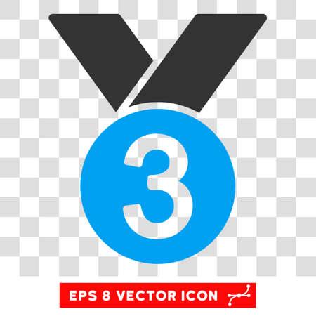 Vector Bronze Medal EPS vector icon. Illustration style is flat iconic bicolor blue and gray symbol on a transparent background. Illustration