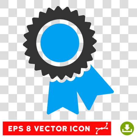 Vector Certification EPS vector pictograph. Illustration style is flat iconic bicolor blue and gray symbol on a transparent background.