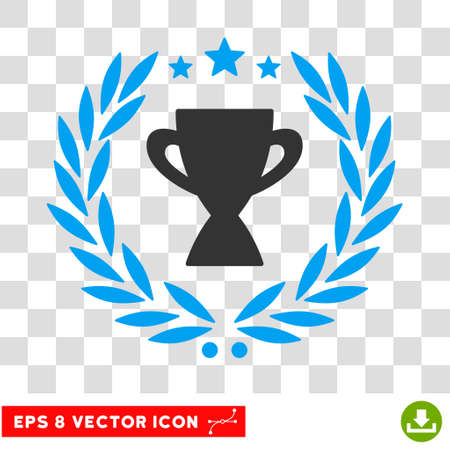 Vector Glory Cup Laurel Wreath EPS vector icon. Illustration style is flat iconic bicolor blue and gray symbol on a transparent background. Illustration