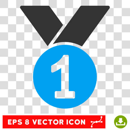 Vector Gold Medal EPS vector pictogram. Illustration style is flat iconic bicolor blue and gray symbol on a transparent background.