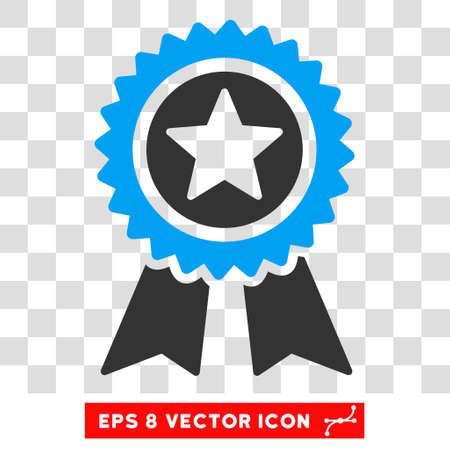 Vector Guarantee EPS vector pictograph. Illustration style is flat iconic bicolor blue and gray symbol on a transparent background.