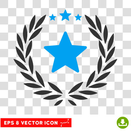 competitions: Vector Starred Laurel Wreath EPS vector icon. Illustration style is flat iconic bicolor blue and gray symbol on a transparent background. Illustration