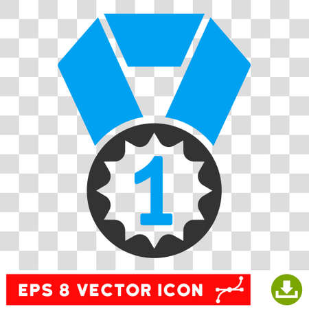 Vector First Place EPS vector pictogram. Illustration style is flat iconic bicolor blue and gray symbol on a transparent background.