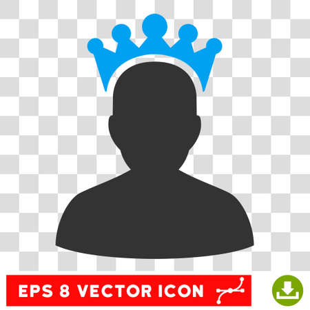 czar: Vector King EPS vector pictograph. Illustration style is flat iconic bicolor blue and gray symbol on a transparent background.
