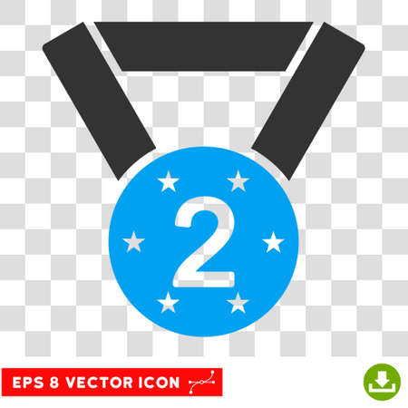 Vector Second Medal EPS vector pictograph. Illustration style is flat iconic bicolor blue and gray symbol on a transparent background.