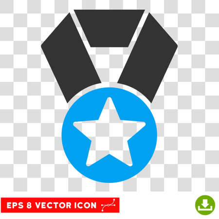 Vector Champion Medal EPS vector pictograph. Illustration style is flat iconic bicolor blue and gray symbol on a transparent background.