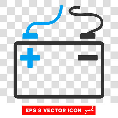 polarity: Vector Accumulator EPS vector pictogram. Illustration style is flat iconic bicolor blue and gray symbol on a transparent background. Illustration