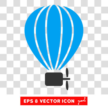 air baloon: Vector Aerostat Balloon EPS vector icon. Illustration style is flat iconic bicolor blue and gray symbol on a transparent background. Illustration