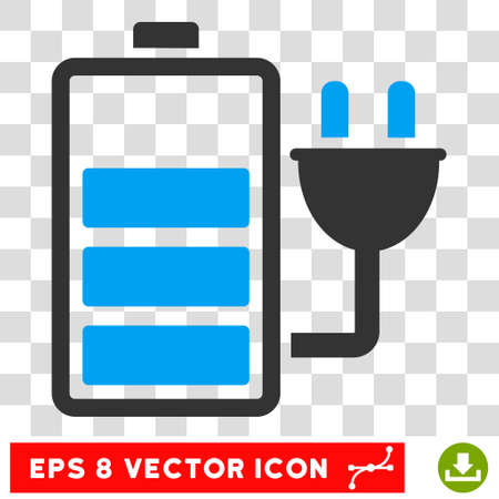 plugin: Vector Charge Battery EPS vector pictogram. Illustration style is flat iconic bicolor blue and gray symbol on a transparent background.