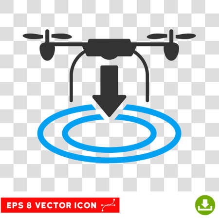 Vector Drone Landing EPS vector pictogram. Illustration style is flat iconic bicolor blue and gray symbol on a transparent background.