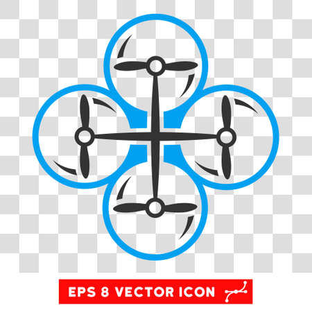 Vector Drone Screws EPS vector icon. Illustration style is flat iconic bicolor blue and gray symbol on a transparent background.
