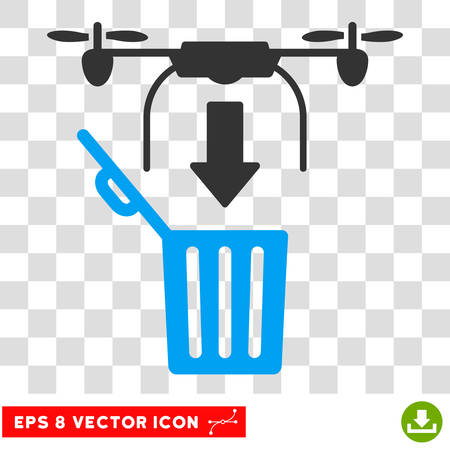 airflight: Vector Drop Trash Airdrone EPS vector pictogram. Illustration style is flat iconic bicolor blue and gray symbol on a transparent background.