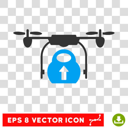 Vector Load Cargo Drone EPS Icon Illustration Style Is Flat Iconic Bicolor Blue And