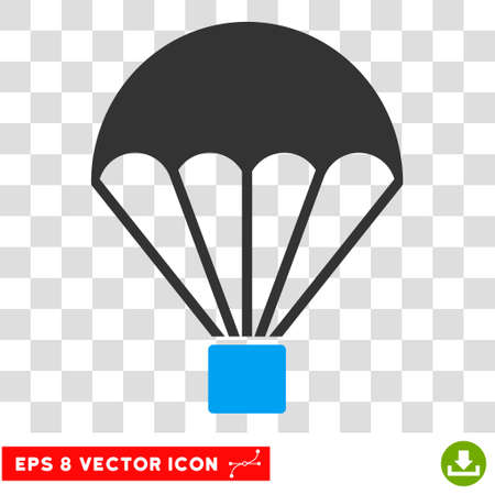 skydiving: Vector Parachute EPS vector pictograph. Illustration style is flat iconic bicolor blue and gray symbol on a transparent background.