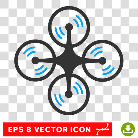 Vector Quadcopter Screw Rotation EPS vector pictograph. Illustration style is flat iconic bicolor blue and gray symbol on a transparent background.