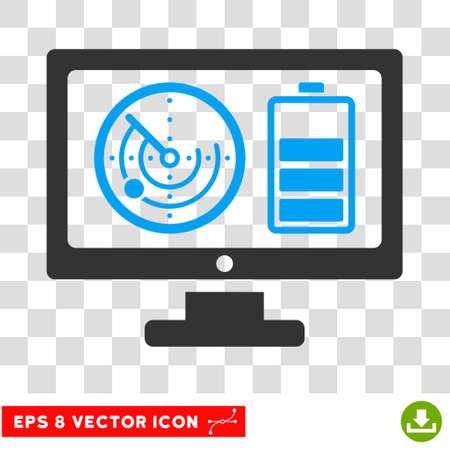 Vector Radar Battery Control Monitor EPS vector icon. Illustration style is flat iconic bicolor blue and gray symbol on a transparent background.