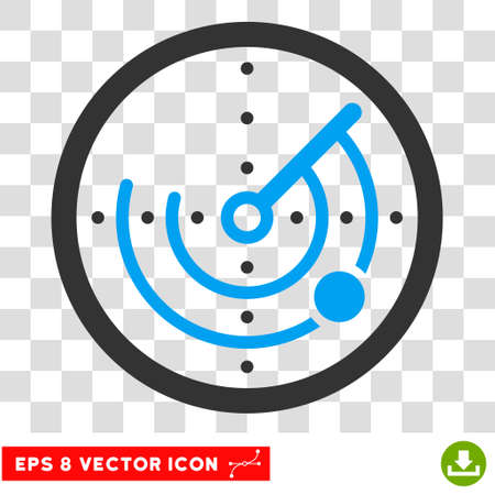 detection: Vector Radar EPS vector icon. Illustration style is flat iconic bicolor blue and gray symbol on a transparent background.