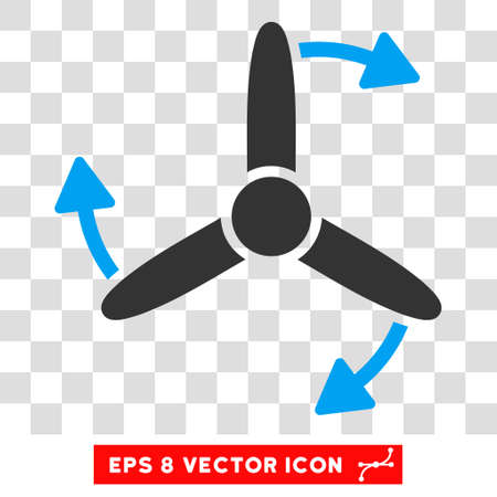 eps vector icon: Vector Three Bladed Screw Rotation EPS vector icon. Illustration style is flat iconic bicolor blue and gray symbol on a transparent background.