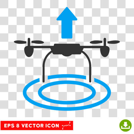 Vector Start Drone EPS vector icon. Illustration style is flat iconic bicolor blue and gray symbol on a transparent background.