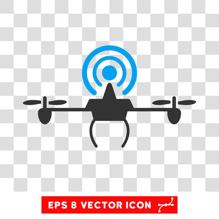Vector Wifi Repeater Drone EPS vector pictograph. Illustration style is flat iconic bicolor blue and gray symbol on a transparent background.