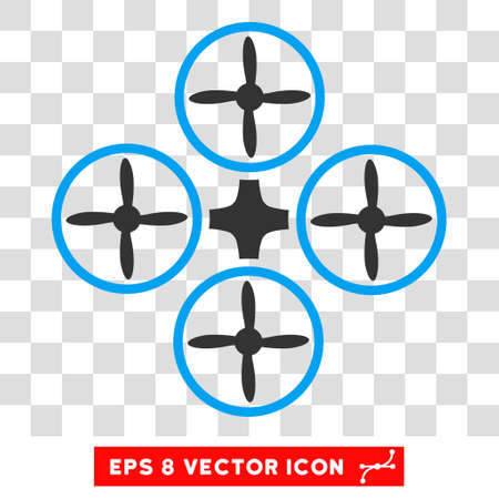 airflight: Vector Quadcopter EPS vector pictogram. Illustration style is flat iconic bicolor blue and gray symbol on a transparent background.