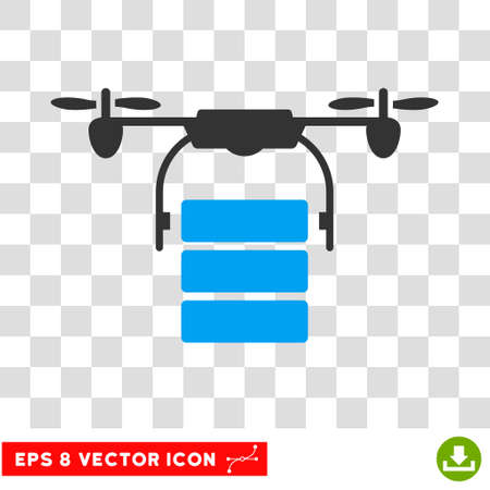 airflight: Vector Cargo Drone EPS vector pictograph. Illustration style is flat iconic bicolor blue and gray symbol on a transparent background.