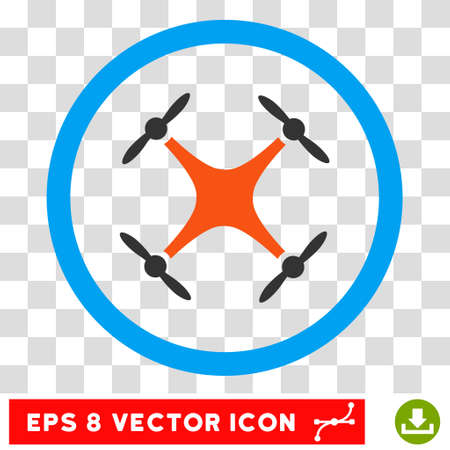 Rounded Airdrone EPS vector icon. Illustration style is flat icon symbol inside a blue circle.
